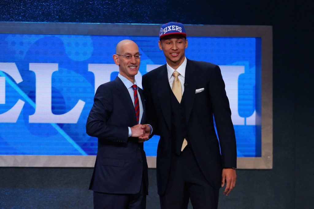 NEW YORK, NY - JUNE 23:  Ben Simmons poses with Commissioner Adam Silver after being drafted first overall by the Philadelphia 76ers in the first round of the 2016 NBA Draft at the Barclays Center on June 23, 2016 in the Brooklyn borough of New York City. NOTE TO USER: User expressly acknowledges and agrees that, by downloading and or using this photograph, User is consenting to the terms and conditions of the Getty Images License Agreement.  (Photo by Mike Stobe/Getty Images)