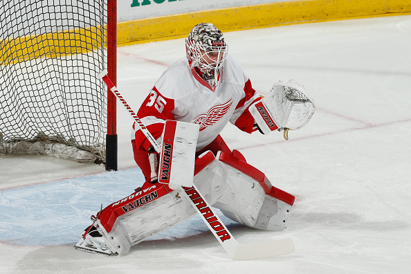 SUNRISE, FL - FEBRUARY 4: Goaltender Jimmy Howard #35 of the Detroit Red Wings warms up prior to the game against the Florida Panthers at the BB&T Center on February 4, 2016 in Sunrise, Florida. (Photo by Joel Auerbach/Getty Images)