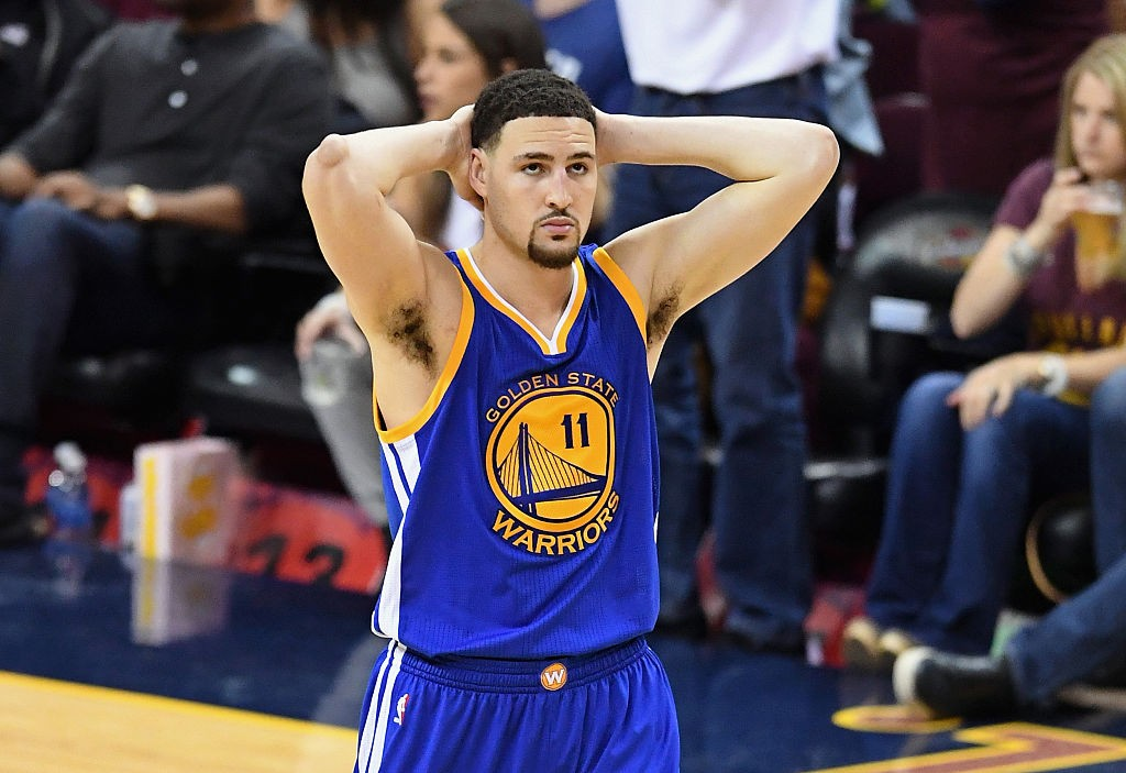 CLEVELAND, OH - JUNE 08: Klay Thompson #11 of the Golden State Warriors reacts during the second half against the Cleveland Cavaliers in Game 3 of the 2016 NBA Finals at Quicken Loans Arena on June 8, 2016 in Cleveland, Ohio. (Photo by Jason Miller/Getty Images)