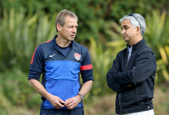 LOS ANGELES, CA - JANUARY 07:  Head Coach Juergen Klinsmann of the U.S. Men's National Soccer team (L) and United States Soccer Federation President Sunil Gulati attend training at StubHub Center on January 7, 2014 in Los Angeles, California.  (Photo by Victor Decolongon/Getty Images)