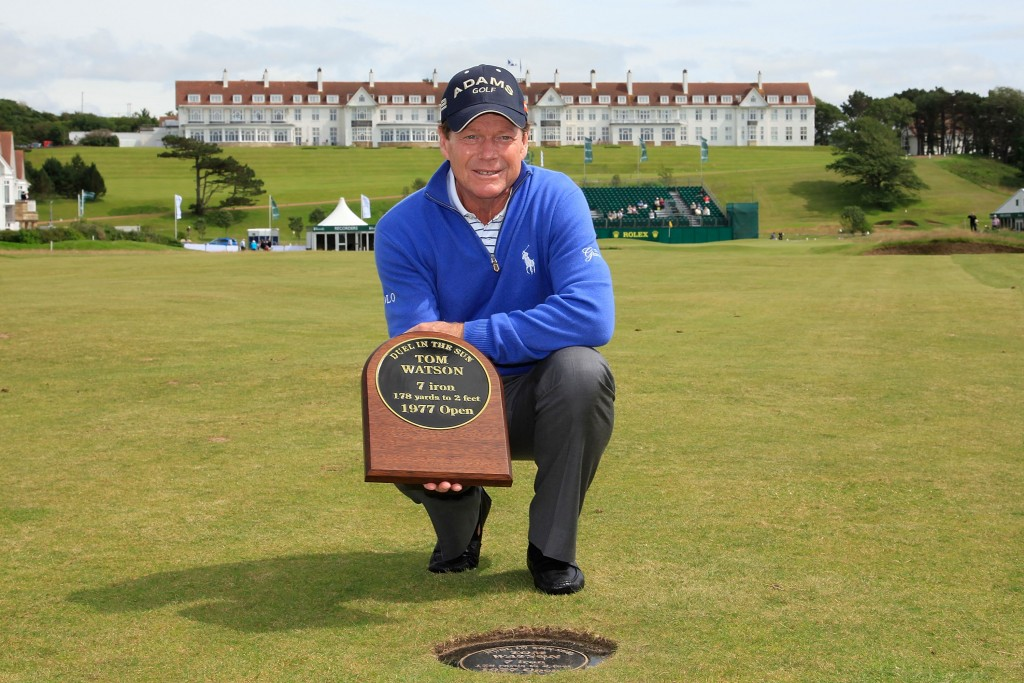 TURNBERRY, SCOTLAND - JULY 25:  Tom Watson of US poses with his 'duel in the sun plaque' on the 18th hole prior to the first round of the Senior Open Championship played over the Ailsa Course, Turnberry on July 25, 2012 in Turnberry, United Kingdom.  (Photo by Phil Inglis/Getty Images)