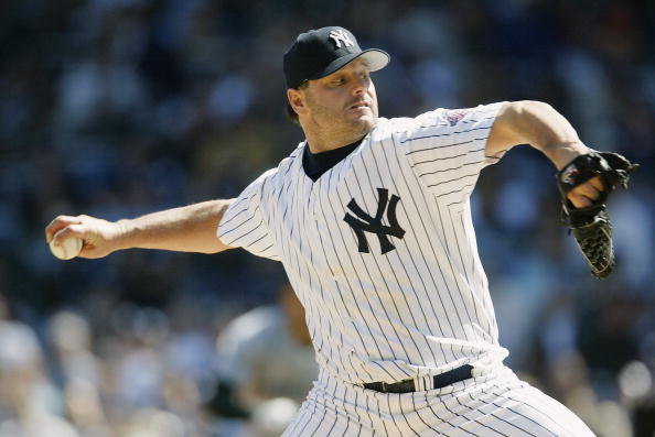 BRONX, NY - APRIL 13:  Pitcher Roger Clemens #22 of the New York Yankees throws against the Tampa Bay Devil Rays during the game at Yankee Stadium on April 13, 2003 in the Bronx, New York. The Devil Rays defeated the Devil Rays 2-1.  (Photo by Al Bello/Getty Images)