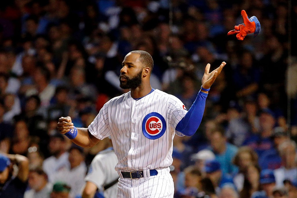 CHICAGO, IL - JUNE 01: Jason Heyward #22 of the Chicago Cubs throws his batting after striking out against the Los Angeles Dodgers during the fifth inning at Wrigley Field on June 1, 2016 in Chicago, Illinois. (Photo by Jon Durr/Getty Images)