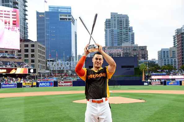 SAN DIEGO, CA - JULY 11:  Giancarlo Stanton of the Miami Marlins celebrates after winning the T-Mobile Home Run Derby at PETCO Park on July 11, 2016 in San Diego, California.  (Photo by Harry How/Getty Images)