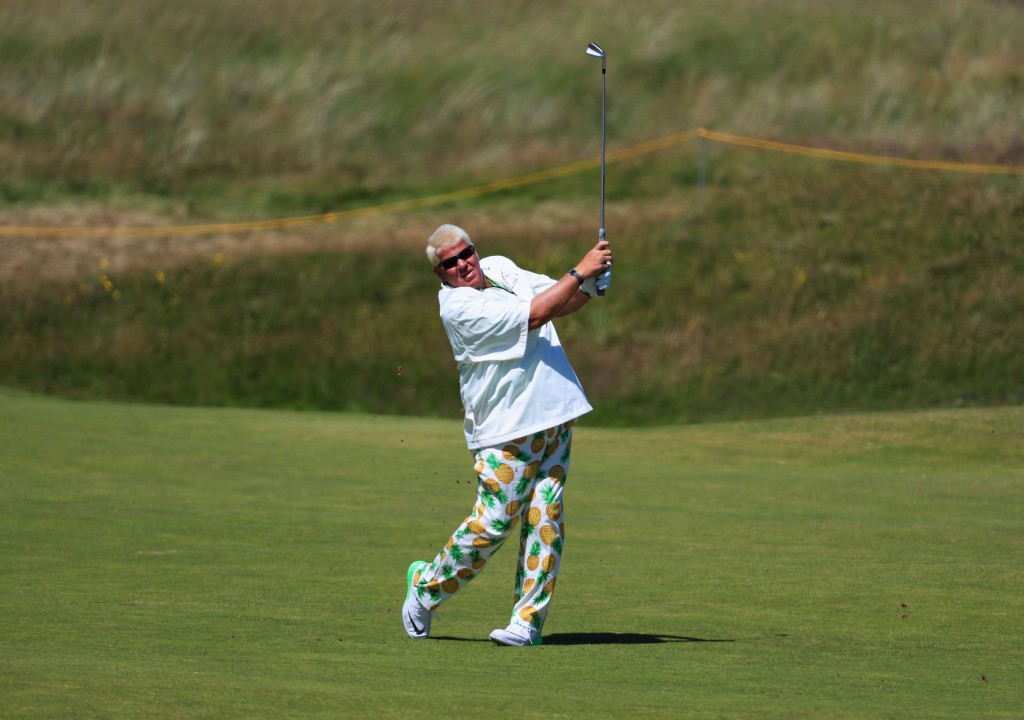 TROON, SCOTLAND - JULY 14:  John Daly of the United States hits his second shot on the 6th during the first round on day one of the 145th Open Championship at Royal Troon on July 14, 2016 in Troon, Scotland.  (Photo by Matthew Lewis/Getty Images)