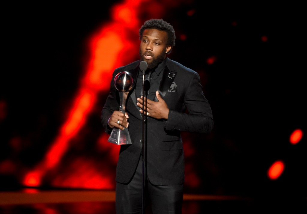 LOS ANGELES, CA - JULY 13:  NFL player Eric Berry accepts the award for Best Comeback Athlete onstage during the 2016 ESPYS at Microsoft Theater on July 13, 2016 in Los Angeles, California.  (Photo by Kevin Winter/Getty Images)