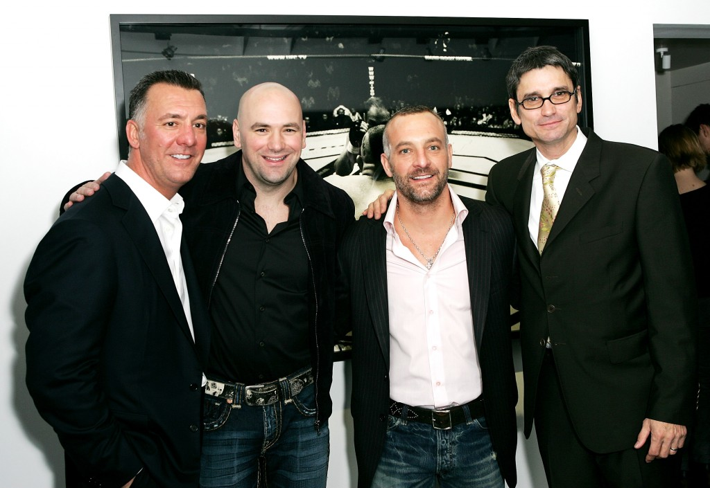 LONDON - JANUARY 17:  (UK TABLOID NEWSPAPERS OUT) (L-R) Brothers and co-owners of the Ultimate Fighting Championship Frank (L) and Lorenzo Fertitta (2nd R), UFC president Dana White (2nd L) and photographer Kevin Lynch attend the 'Octagon' private view at Hamilton's gallery on January 17, 2007 in London, England.  The exhibition showcases work by Lynch documenting the world of Ultimate Fighter Championship (UFC) events.  (Photo by Claire Greenway/Getty Images)