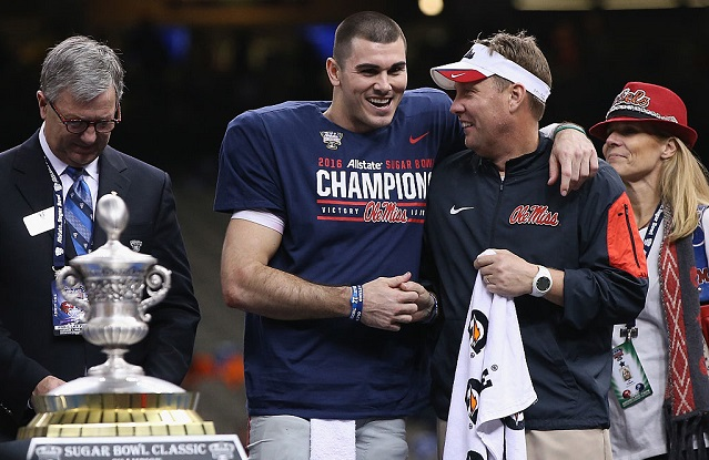 NEW ORLEANS, LA - JANUARY 01: Quarterback Chad Kelly #10 of the Mississippi Rebels and head coach Hugh Freeze celebrate during the trophy ceremony after their 48-20 win over the Oklahoma State Cowboys in the Allstate Sugar Bowl at Mercedes-Benz Superdome on January 1, 2016 in New Orleans, Louisiana. (Photo by Sean Gardner/Getty Images)