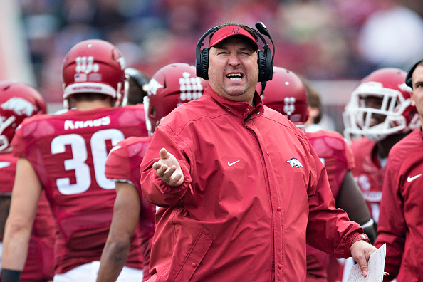 FAYETTEVILLE, AR - OCTOBER 31:  Head Coach Bret Bielema of the Arkansas Razorbacks reacts to a replay on the scoreboard during a game against the UT Martin Skyhawks at Razorback Stadium on October 31, 2015 in Fayetteville, Arkansas.  (Photo by Wesley Hitt/Getty Images)