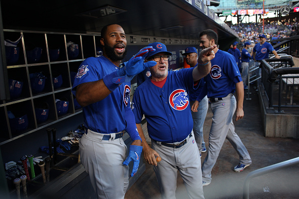 NEW YORK, NEW YORK - July 02: Joe Maddon #70 of the Chicago Cubs in the dugout giving instructions to Jason Heyward #22 of the Chicago Cubs during the Chicago Cubs Vs New York Mets regular season MLB game at Citi Field on July 02, 2016 in New York City. (Photo by Tim Clayton/Corbis via Getty Images)