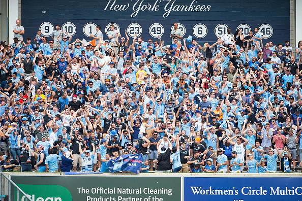 NEW YORK, NY - JULY 03: A view of New York City FC fans during the match vs New York Red Bulls at Yankee Stadium on July 3, 2016 in New York City. New York City FC defeats New York Red Bulls 2-0. (Photo by Michael Stewart/Getty Images)