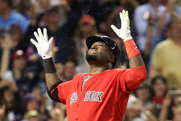 BOSTON, MA - JULY 01:  David Ortiz #34 of the Boston Red Sox reacts after hitting a home run in the fifth inning during the game against the Los Angeles Angels of Anaheim at Fenway Park on July 1, 2016 in Boston, Massachusetts.  (Photo by Adam Glanzman/Getty Images)