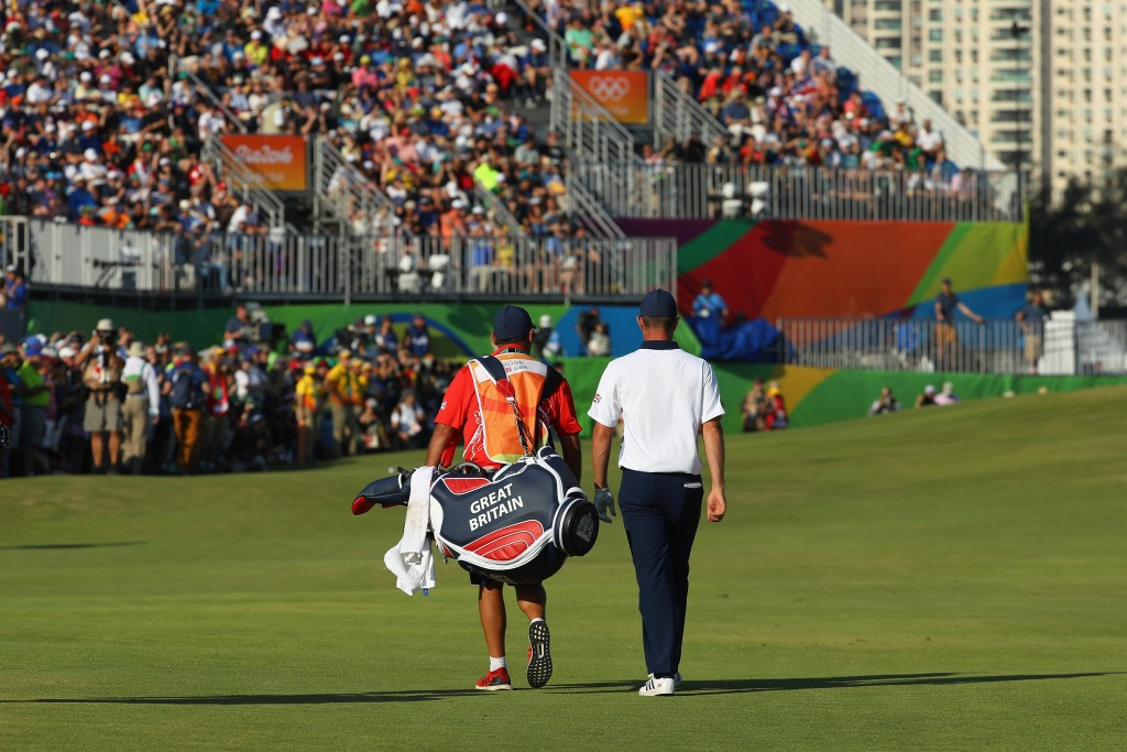 RIO DE JANEIRO, BRAZIL - AUGUST 14:  Justin Rose of Great Britain walks on the 18th hole during the final round of men's golf on Day 9 of the Rio 2016 Olympic Games at the Olympic Golf Course on August 14, 2016 in Rio de Janeiro, Brazil.  (Photo by Scott Halleran/Getty Images)