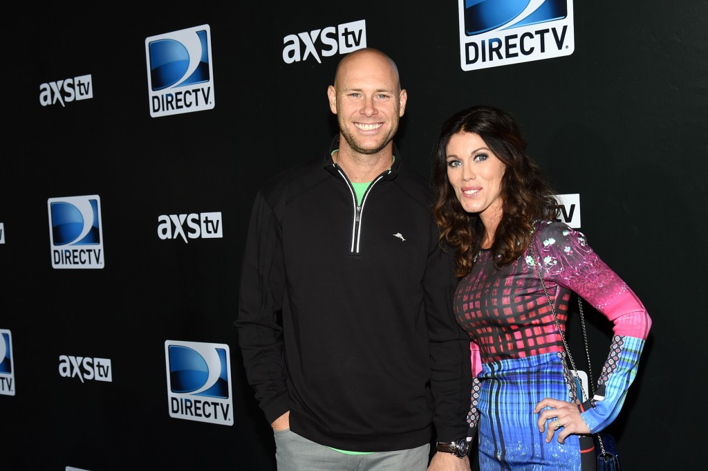 GLENDALE, AZ - JANUARY 31:  New York Giants kicker Josh Brown (L) and Molly Brown attend DirecTV Super Saturday Night hosted by Mark Cuban's AXS TV and Pro Football Hall of Famer Michael Strahan at Pendergast Family Farm on January 31, 2015 in Glendale, Arizona.  (Photo by Ethan Miller/Getty Images for DirecTV)