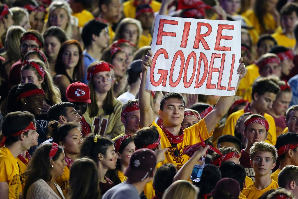 CHESTNUT HILL, MA - SEPTEMBER 18:  A Boston College Eagles fan holds a sign protesting NFL Comissioner Roger Goodell during the game between the Boston College Eagles and the Florida State Seminoles at Alumni Stadium on September 18, 2015 in Chestnut Hill, Massachusetts.  (Photo by Maddie Meyer/Getty Images)