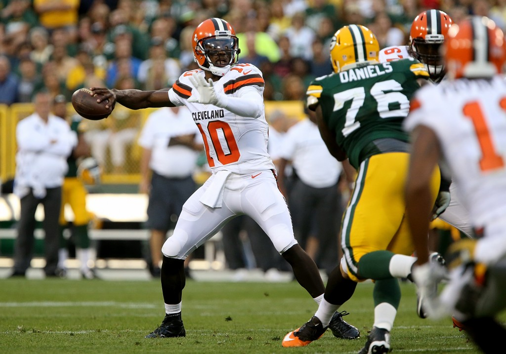 GREEN BAY, WI - AUGUST 12:  Robert Griffin #10 of the Cleveland Browns throws an interception in the first quarter against the Green Bay Packers at Lambeau Field on August 12, 2016 in Green Bay, Wisconsin. (Photo by Dylan Buell/Getty Images)