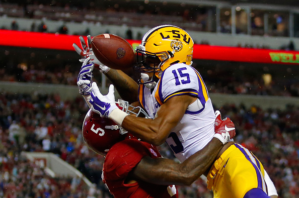 TUSCALOOSA, AL - NOVEMBER 07: Malachi Dupre #15 of the LSU Tigers misses a touchdown interception due to pass interference on Cyrus Jones #5 of the Alabama Crimson Tide during the fourth quarter at Bryant-Denny Stadium on November 7, 2015 in Tuscaloosa, Alabama. (Photo by Kevin C. Cox/Getty Images)