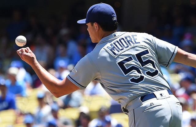 LOS ANGELES, CA - JULY 27: Matt Moore #55 of the Tampa Bay Rays in the first inning of the game agains the Los Angeles Dodgers on July 27, 2016 in Los Angeles, California.  (Photo by Jayne Kamin-Oncea/Getty Images)