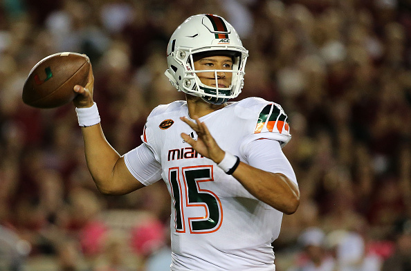 TALLAHASSEE, FL - OCTOBER 10: Brad Kaaya #15 of the Miami Hurricanes passes during a game against the Florida State Seminoles at Doak Campbell Stadium on October 10, 2015 in Tallahassee, Florida. (Photo by Mike Ehrmann/Getty Images)
