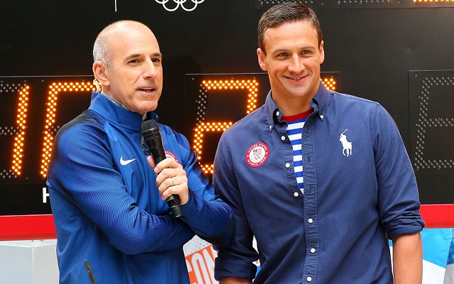 NEW YORK, NY - APRIL 27:  Swimmer Ryan Lochte (R) of Team USA speaks to Today Show host Matt Lauer during a visit to NBC's TODAY Show during their Road to Rio Tour presented by Liberty Mutual on April 27, 2016 in New York City. The event marks 100 days until the Opening Ceremony of the Rio 2016 Olympic Games.  (Photo by Mike Stobe/Getty Images for the USOC)
