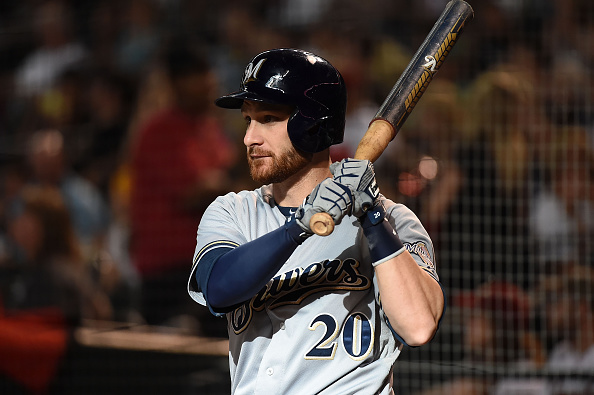 PHOENIX, AZ - JULY 25:  Jonathan Lucroy #20 of the Milwaukee Brewers gets ready in the on deck circle during the first inning against the Arizona Diamondbacks at Chase Field on July 25, 2015 in Phoenix, Arizona.  (Photo by Norm Hall/Getty Images)