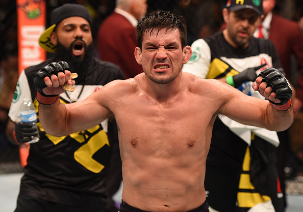 LAS VEGAS, NV - DECEMBER 12:  Demian Maia of Brazil reacts to his victory over Gunnar Nelson of Iceland in their welterweight bout during the UFC 194 event inside MGM Grand Garden Arena on December 12, 2015 in Las Vegas, Nevada.  (Photo by Josh Hedges/Zuffa LLC/Zuffa LLC via Getty Images)