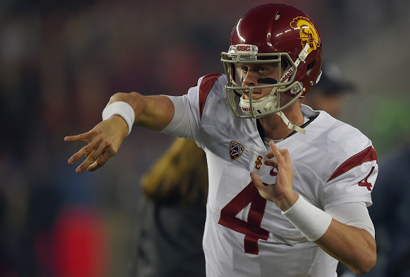 SANTA CLARA, CA - DECEMBER 05: Max Browne #4 of the USC Trojans warms up on the sidelines prior to the start of the NCAA Pac-12 Championship game against the Stanford Cardinal at Levi's Stadium on December 5, 2015 in Santa Clara, California. (Photo by Thearon W. Henderson/Getty Images)