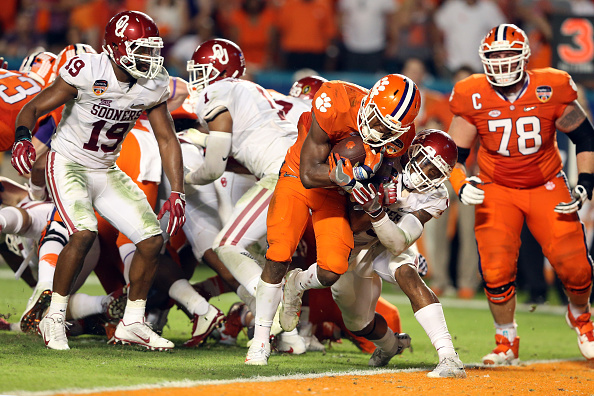 MIAMI GARDENS, FL - DECEMBER 31:  Wayne Gallman #9 of the Clemson Tigers scores a touchdown in the fourth quarter against the Oklahoma Sooners during the 2015 Capital One Orange Bowl at Sun Life Stadium on December 31, 2015 in Miami Gardens, Florida.  (Photo by Streeter Lecka/Getty Images)