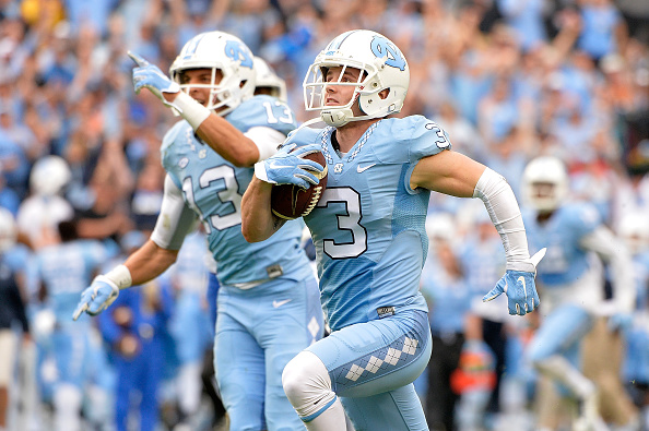 CHAPEL HILL, NC - NOVEMBER 07:  Ryan Switzer #3 of the North Carolina Tar Heels runs for a touchdown against the Duke Blue Devils during their game at Kenan Stadium on November 7, 2015 in Chapel Hill, North Carolina. North Carolina won 66-31.  (Photo by Grant Halverson/Getty Images)
