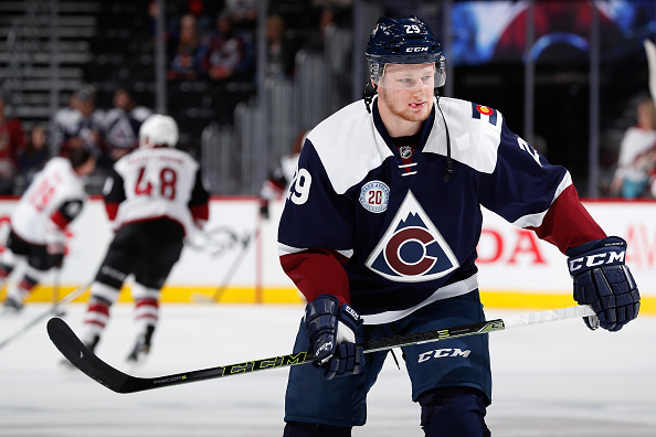 DENVER, CO - MARCH 07:  Nathan MacKinnon #29 of the Colorado Avalanche warms up prior to facing the Arizona Coyotes at Pepsi Center on March 7, 2016 in Denver, Colorado.  (Photo by Doug Pensinger/Getty Images)