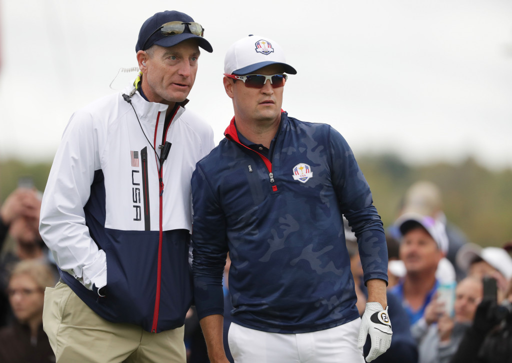 CHASKA, MN - SEPTEMBER 28: Vice-captain Jim Furyk  and Zach Johnson of the United States look on during practice prior to the 2016 Ryder Cup at Hazeltine National Golf Club on September 28, 2016 in Chaska, Minnesota.  (Photo by Streeter Lecka/Getty Images)
