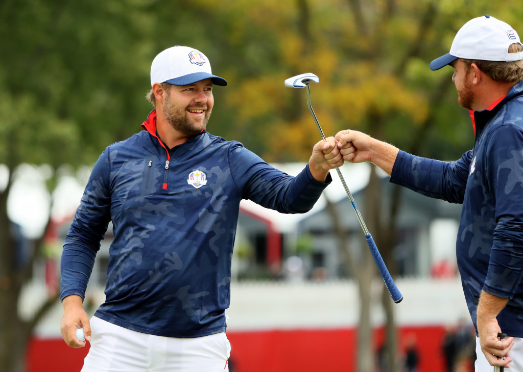 CHASKA, MN - SEPTEMBER 28:  Ryan Moore and J.B. Holmes of the United States react to a putt during practice prior to the 2016 Ryder Cup at Hazeltine National Golf Club on September 28, 2016 in Chaska, Minnesota.  (Photo by Andrew Redington/Getty Images)