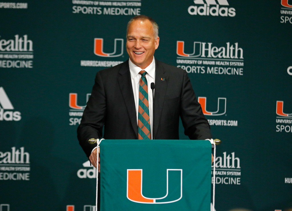 CORAL GABLES, FL - DECEMBER 04:  New University of Miami Hurricanes head football coach Mark Richt speaks after he was introduced at a press conference at the school on December 4, 2015 in Coral Gables, Florida.  (Photo by Joe Skipper/Getty Images)