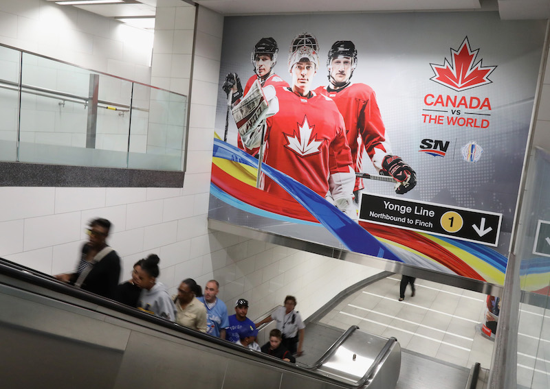 TORONTO, ON - SEPTEMBER 13:  World Cup of Hockey signage adourns pedestrian areas at the Union Station on September 13, 2016 in Toronto, Canada.  (Photo by Bruce Bennett/Getty Images)