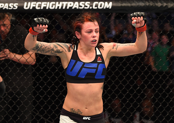 GLASGOW, SCOTLAND - JULY 18: Joanne Calderwood of Scotland reacts after the conclusion of her women's strawweight fight against Cortney Casey of the United States during the UFC Fight Night event inside the SSE Hydro on July 18, 2015 in Glasgow, Scotland. (Photo by Josh Hedges/Zuffa LLC/Zuffa LLC via Getty Images)