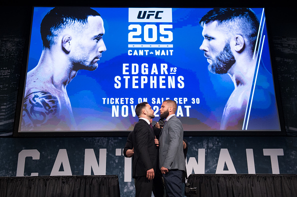 NEW YORK, NY - SEPTEMBER 27: (L-R) Frankie Edgar and Jeremy Stephens face-off during the UFC 205 press event at Madison Square Garden on September 27, 2016 in New York City. (Photo by Brandon Magnus/Zuffa LLC/Zuffa LLC via Getty Images)