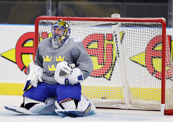 GOTHENBURG, SWEDEN - SEPTEMBER 09: Henrik Lundqvist of Sweden during Team Sweden ice practice ahead of the match between Sweden and Finland, september 9th, 2016 at Scandinavium, Gothenburg, Sweden. (Photo by Nils Petter Nilsson/Ombrello/Getty Images)