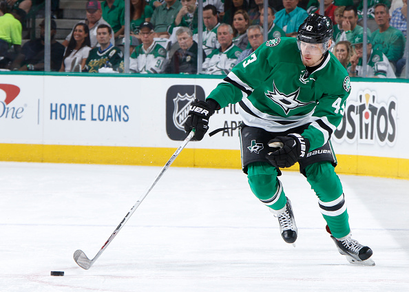 DALLAS, TX - MAY 11: Valeri Nichushkin #43 of the Dallas Stars handles the puck against the St. Louis Blues in Game Seven of the Western Conference Second Round during the 2016 NHL Stanley Cup Playoffs at the American Airlines Center on May 11, 2016 in Dallas, Texas. (Photo by Glenn James/NHLI via Getty Images)