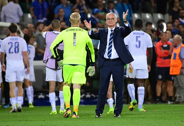 Leicester City's coach Claudio Ranieri (C) celebrates at the end of the UEFA Champions League football match between Club Brugge and Leicester City at Jan Breydelstadion on September 14, 2016, in Bruges, Belgium. / AFP / EMMANUEL DUNAND        (Photo credit should read EMMANUEL DUNAND/AFP/Getty Images)