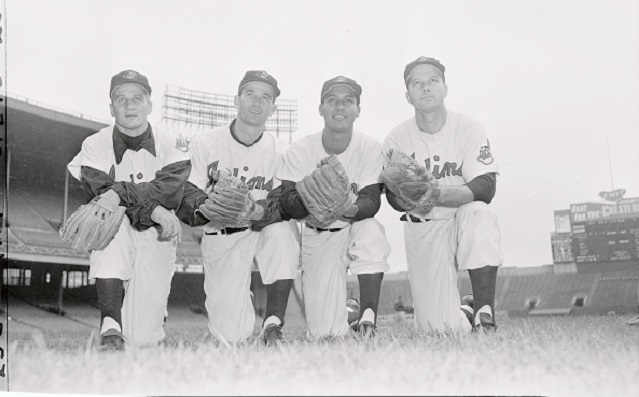 With the American League Pennant safely tucked away, the Cleveland Indians are now sharpening up their tomahawks for their opponents in the World Series, in all probability the New York Giants. Here are the men who won the A.L. flag. The infield (from left): third baseman Al Rosen; shortstop George Strickland; second sacker Bobby Avila and first baseman Vic Wertz.