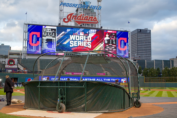 24 October 2016: Members of the media surround the field as the Indians workout in preparation for the 2016 World Series between the Chicago Cubs and Cleveland Indians at Progressive Field in Cleveland, OH. (Photo by Frank Jansky/Icon Sportswire via Getty Images)
