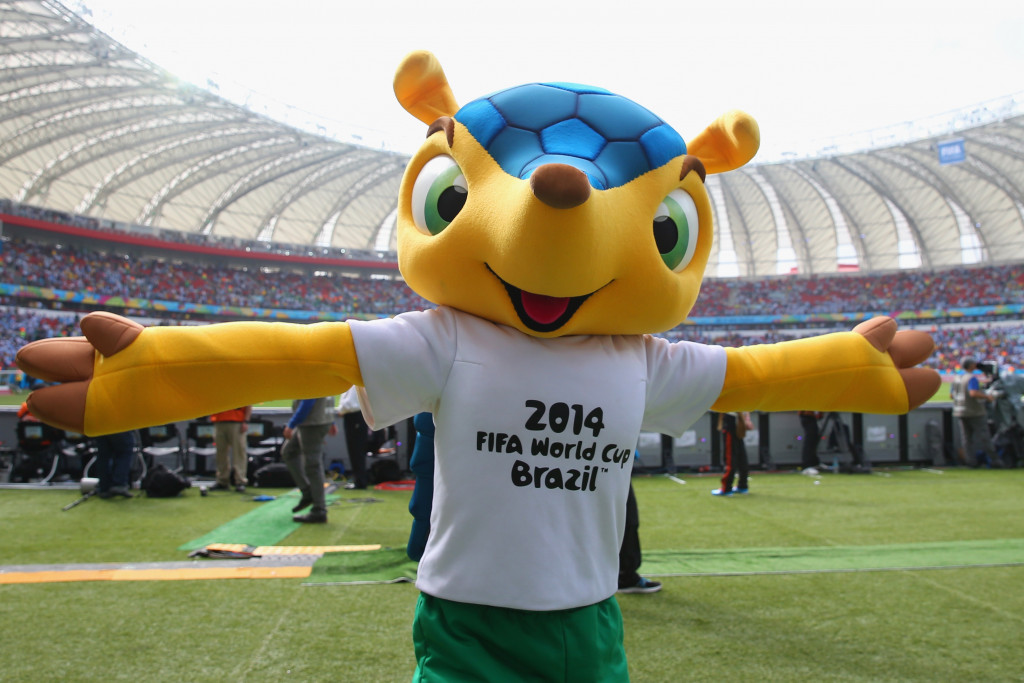 PORTO ALEGRE, BRAZIL - JUNE 25:  The World Cup mascot Fuleco ahead of the 2014 FIFA World Cup Brazil Group F match between Nigeria and Argentina at Estadio Beira-Rio on June 25, 2014 in Porto Alegre, Brazil.  (Photo by Ronald Martinez/Getty Images)