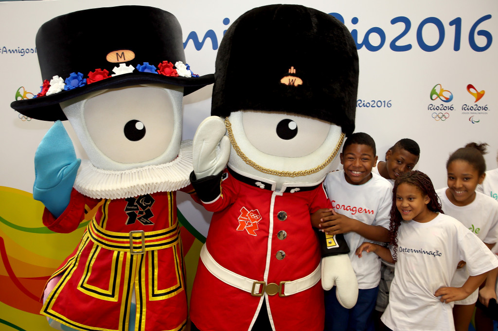 RIO DE JANEIRO, BRAZIL - NOVEMBER 20:  Mandeville and Wenlock, mascots from the London Olympic Games, are welcomed along with other previous summer Olympic mascots at Gale?o International Airport on November 20, 2014 in Rio de Janeiro, Brazil.  (Photo by Matthew Stockman/Getty Images)