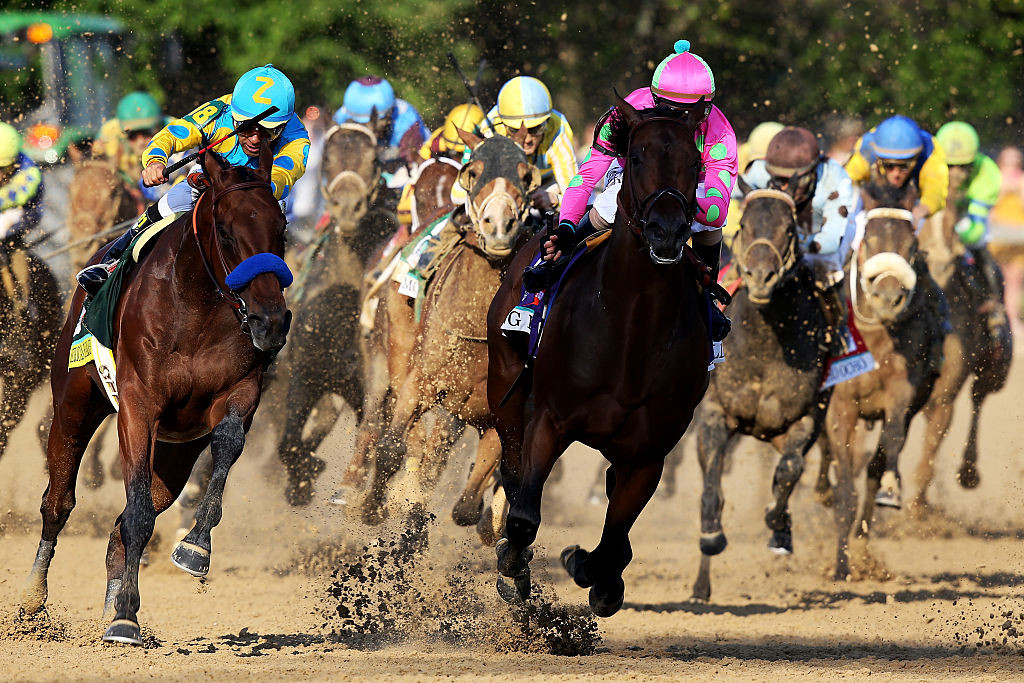 during the 141st running of the Kentucky Derby at Churchill Downs on May 2, 2015 in Louisville, Kentucky.