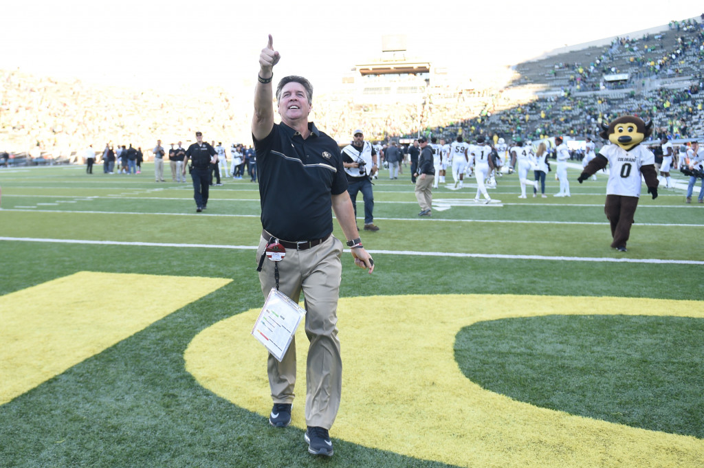 EUGENE, OR - SEPTEMBER 24: Head coach Mike MacIntyre of the Colorado Buffaloes celebrates after the game against the Oregon Ducks at Autzen Stadium on September 24, 2016 in Eugene, Oregon. Colorado won the game 41-38. (Photo by Steve Dykes/Getty Images)