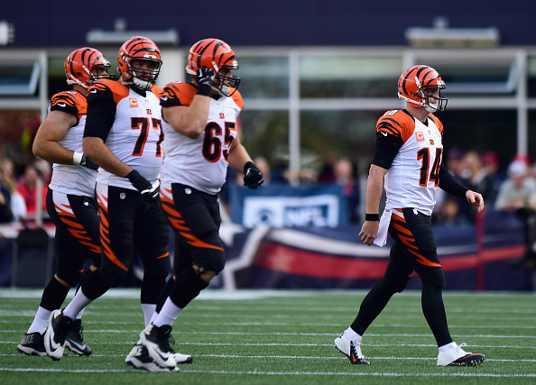 FOXBORO, MA - OCTOBER 16: Andy Dalton #14 of the Cincinnati Bengals reacts during the fourth quarter of a game against the New England Patriots at Gillette Stadium on October 16, 2016 in Foxboro, Massachusetts. (Photo by Billie Weiss/Getty Images)