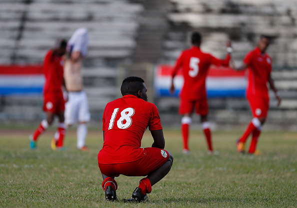 HAVANA, CUBA - OCTOBER 07:  David Urgelles Soler #18 of Cuba reacts after their 2-0 loss to the United States at Estadio Pedro Marrero on October 7, 2016 in Havana, Cuba.  (Photo by Kevin C. Cox/Getty Images)