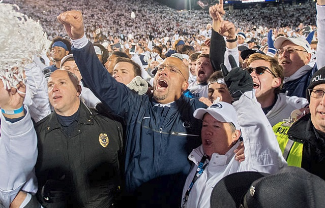 Penn State head coach James Franklin celebrates with the crowd after a 24-21 win against Ohio State on Saturday, Oct. 22, 2016, at Beaver Stadium in State College, Pa. (Abby Drey/Centre Daily Times/TNS via Getty Images)