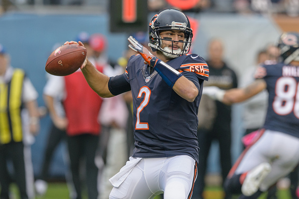 16 October 2016: Chicago Bears Quarterback Brian Hoyer (2) in the 1st quarter during an NFL football game between the Jacksonville Jaguars and the Chicago Bears at Soldier Field in Chicago, IL. (Photo by Daniel Bartel/Icon Sportswire via Getty Images)