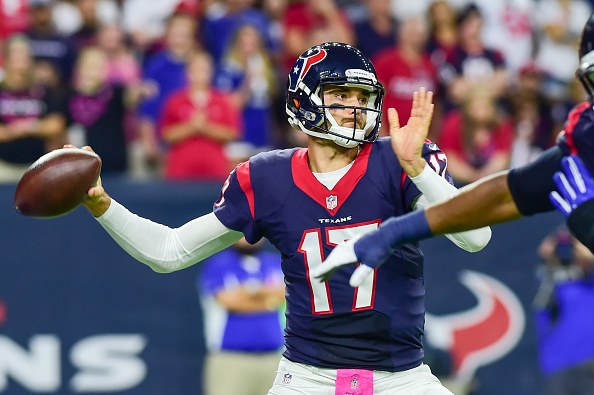 16 October, 2016: Houston Texans Quarterback Brock Osweiler (17) looks to pass downfield during the NFL game between the Indianapolis Colts and Houston Texans at NRG Stadium, Houston, Texas. (Photo by Ken Murray/Icon Sportswire via Getty Images)